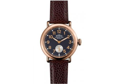 Shinola The Runwell Leather Strap Rose Gold Mens Watch  - S0110000282
