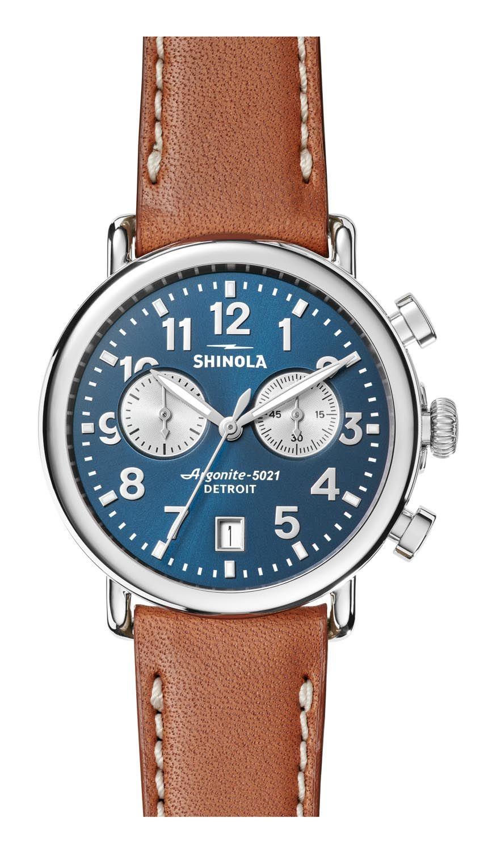 6cfb0cd0c Shinola The Runwell Chrono 41mm Tan Leather Strap Mens Watch - S0120044131