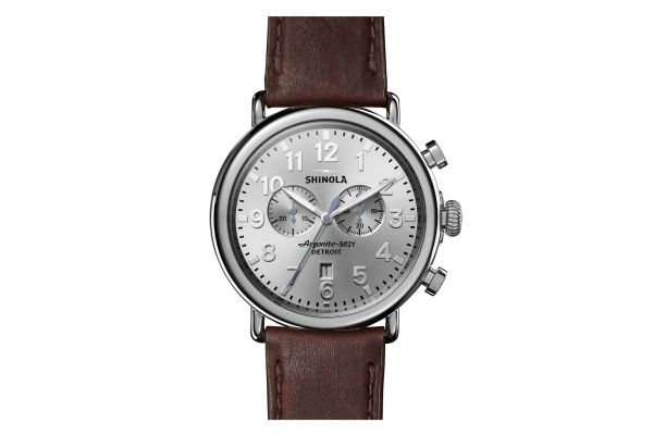 Shinola The Runwell Chrono 47mm Brown Leather Strap Mens Watch - S0120077936