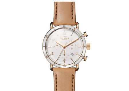 Shinola The Canfield Sport 40mm White Dial with Natural Leather Strap Womens Watch - S0120089885
