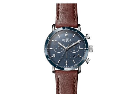 Shinola The Canfield Sport 40mm Blue Dial with Cognac Leather Strap Unisex Watch - S0120089887