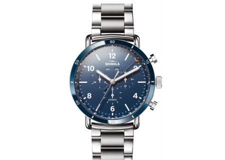 Shinola The Canfield Sport 45mm Blue Dial with Stainless Steel Bracelet Mens Watch - S0120089890