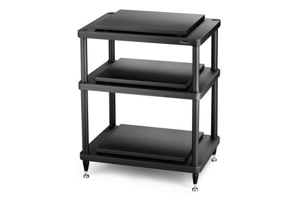 Large image of Solidsteel Black S5 Series 3 Shelf Audio Rack - S5-3BK