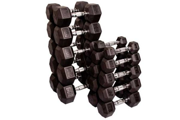 Large image of Body-Solid Rubber Coated 5-50 Lb. Hex Dumbbell Set - SDRS550