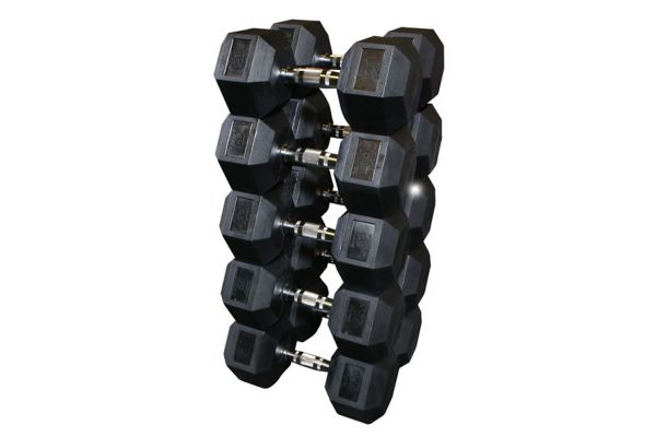 Large image of Body-Solid Rubber Coated 55-75 lbs. Hex Dumbbell Set - SDRS650