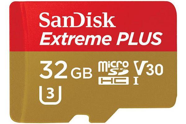 SanDisk Extreme Plus 32GB Class 10 V30 UHS-I microSDHC Memory Card - SDSQXWG-032G-ANCMA