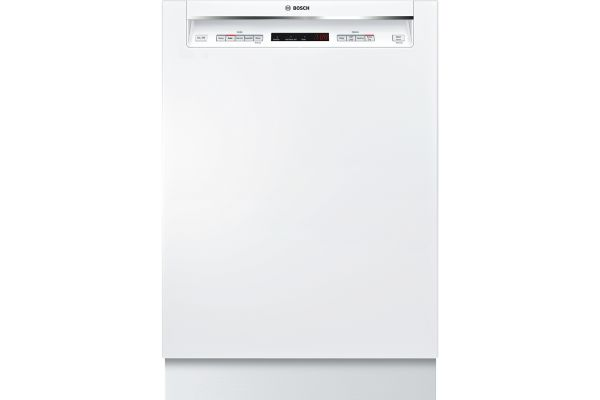"Large image of Bosch 300 Series 24"" White Recessed Handle Dishwasher - SHEM63W52N"