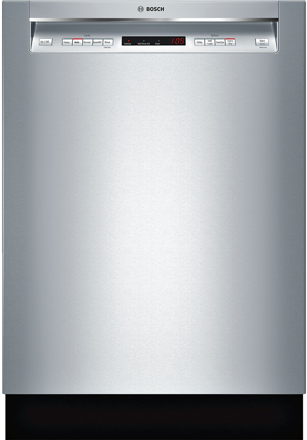 """Bosch 24"""" 300 Series Recessed Handle Stainless Steel Built-In Dishwasher -  SHEM63W55N"""