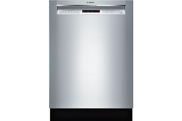 "Large image of Bosch 24"" 300 Series Recessed Handle Stainless Steel Built-In Dishwasher - SHEM63W55N"