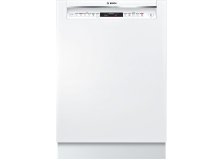 """Bosch 24"""" 800 Series Recessed Handle White Built-In Dishwasher - SHEM78W52N"""
