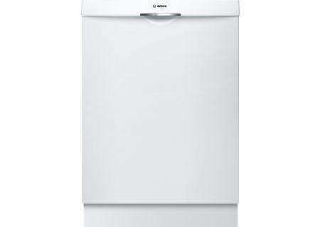 """Bosch 24"""" 300 Series Scoop Handle White Built-In Dishwasher - SHSM63W52N"""