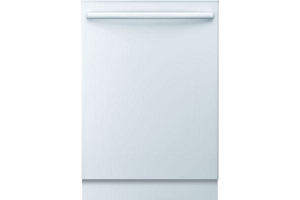 "Large image of Bosch 100 Series 24"" White Bar Handle Dishwasher - SHX3AR72UC"