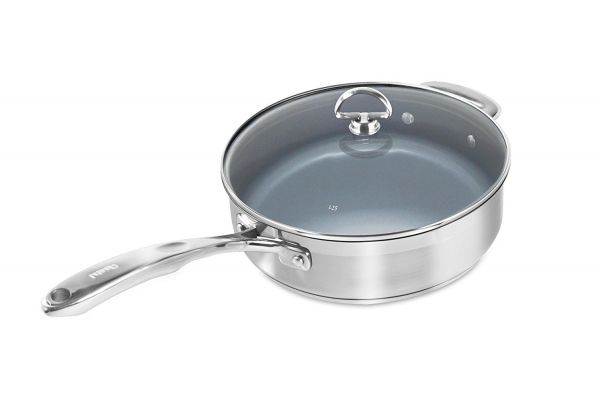 Large image of Chantal Induction 21 Steel Ceramic Coated 3 Qt. Saute Skillet With Lid - SLIN34-240C