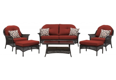 Hanover - SMAR-6PC-RED - Patio Seating Sets