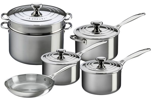 Large image of Le Creuset Stainless Steel 10 Piece Cookware Set - SSP14110