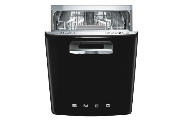 """Smeg 50s Retro Style Aesthetic 24"""" Black Built-In Dishwasher - STFABUBL"""