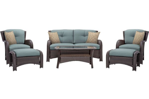 Hanover Strathmere Ocean Blue 6-Piece Outdoor Lounge Patio Set  - STRATHMERE6PCBLU