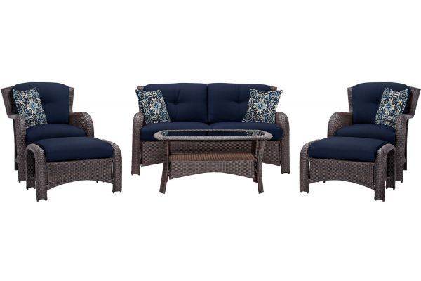 Hanover Strathmere Navy Blue 6-Piece Outdoor Lounge Patio Set  - STRATHMERE6PCNVY