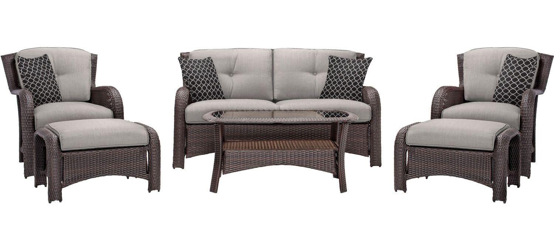 Hanover strathmere 6 piece lounge set strathmere6pcslv for Outdoor furniture big w