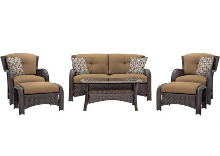 Hanover Strathmere Country Cork 6-Piece Outdoor Lounge Patio Set  - STRATHMERE6PCTAN