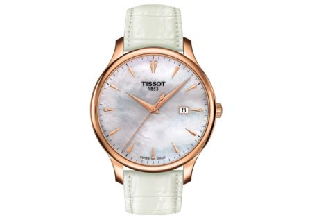 Tissot Tradition Rose Gold White Leather Watch  - T0636103611601