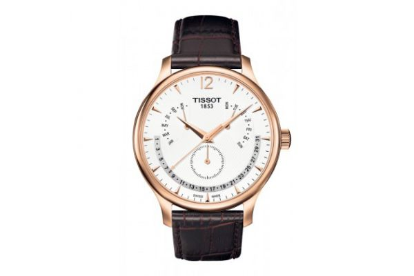 Large image of Tissot Tradition Rose Gold PVD Perpetual Calendar Classic Mens Watch - T0636373603700