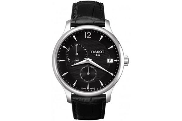 Large image of Tissot Tradition GMT Mens Black Quartz Classic Watch - T0636391605700
