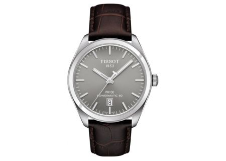 Tissot PR 100 Powermatic 80 Stainless Steel And Brown Leather Mens Watch  - T1014071607100