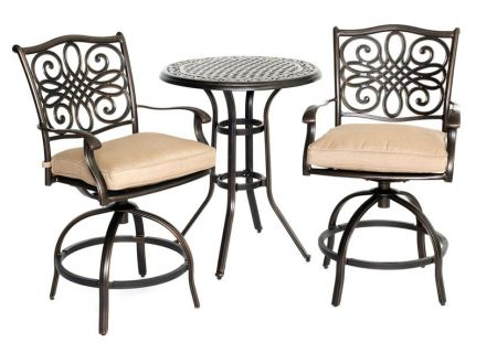 Hanover Traditions Natural Oat & Bronze 3-Piece Outdoor Bistro Patio Set  - TRADDN3PCSW-BR