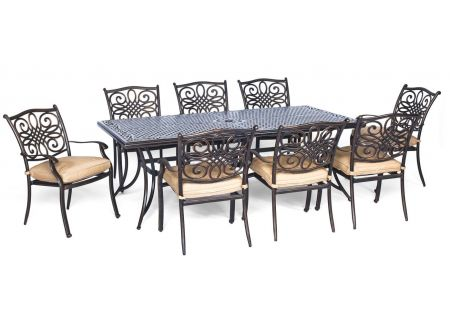 Hanover Traditions Natural Oat & Bronze 9-Piece Outdoor Dining Patio Set  - TRADDN9PC