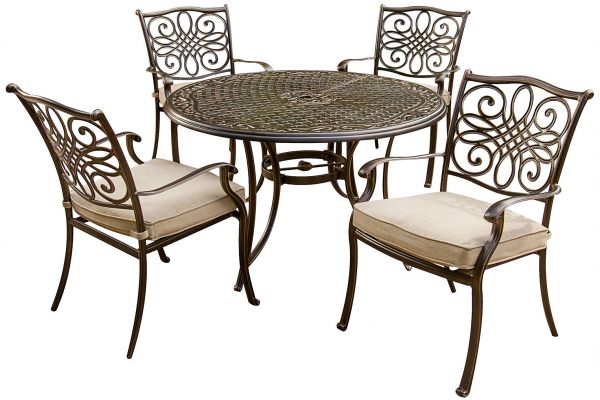 Large image of Hanover Brown Traditions 5-Piece Outdoor Dining Patio Set - TRADITIONS5PC