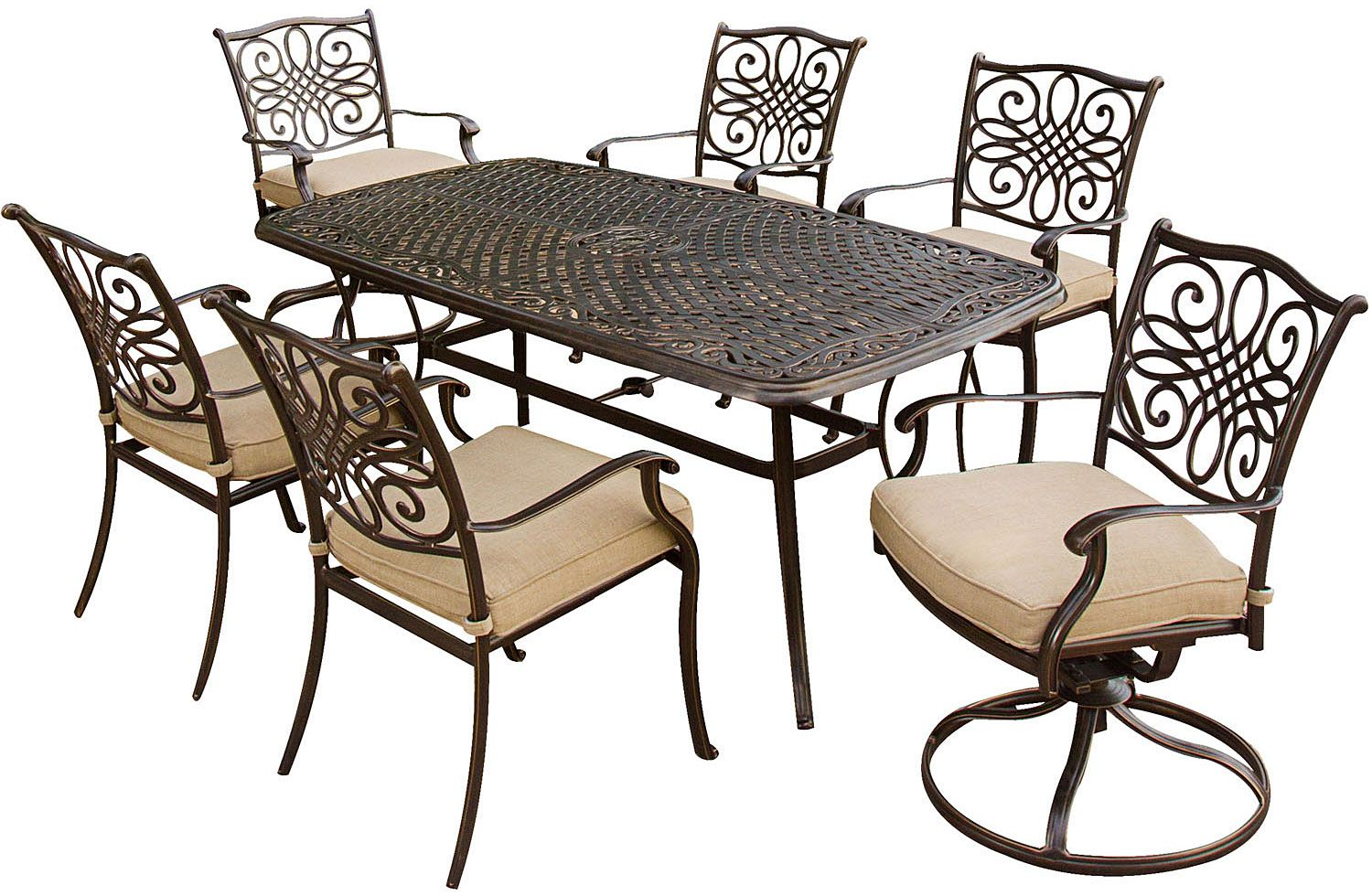 Hanover 7 Piece Outdoor Dining Patio Set Traditions7pcsw