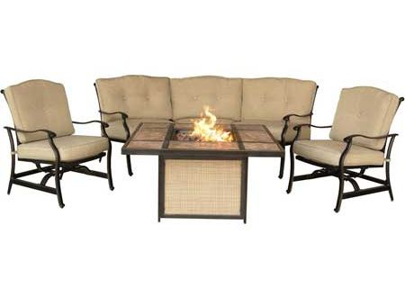 Hanover Traditions 4-Piece Lounge And Tile-Top Fire Pit Set - TRADTILE4PCFP