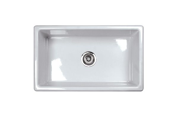 Large image of Rohl White Shaws Classic Single Bowl Modern Undermount Fireclay Kitchen Sink  - UM3018WH