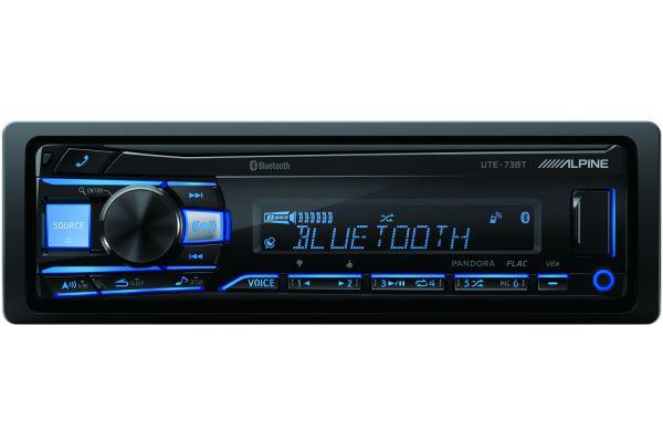 Alpine Single DIN Mech-Less Bluetooth Digital Media Receiver - UTE-73BT