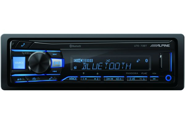 Large image of Alpine Single DIN Mech-Less Bluetooth Digital Media Receiver - UTE-73BT