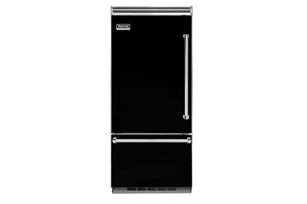 "Large image of Viking Quiet Cool 5 Series 36"" Black Left-Hinge Built-In Bottom-Freezer Refrigerator - VCBB5363ELBK"