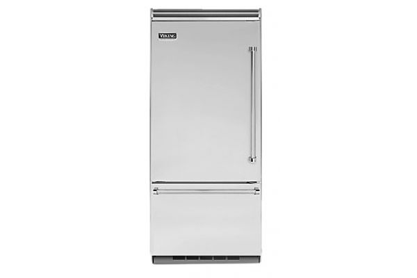 """Large image of Viking Quiet Cool 5 Series 36"""" Stainless Steel Left-Hinge Built-In Bottom-Freezer Refrigerator - VCBB5363ELSS"""