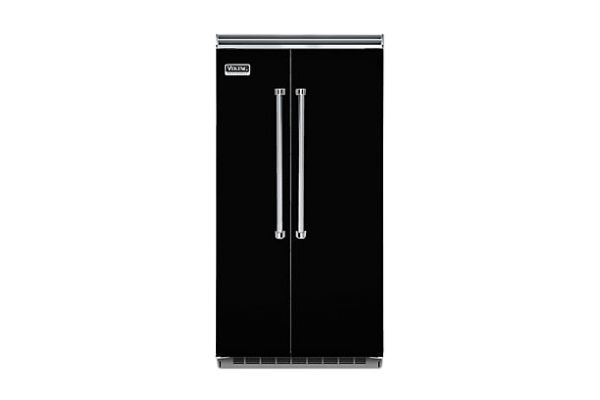 """Large image of Viking Quiet Cool 5 Series 42"""" Black Built-In Side-By-Side Refrigerator - VCSB5423BK"""
