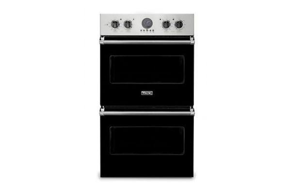 "Large image of Viking 30"" Professional 5 Series Black Premiere Double Wall Oven - VDOE530BK"
