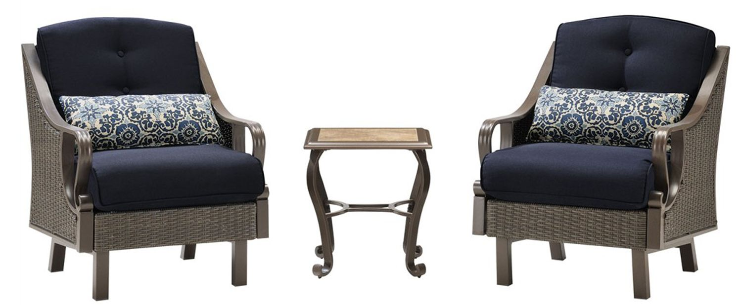 Hanover ventura 3pc outdoor chat set ventura3pc nvy for Outdoor furniture big w