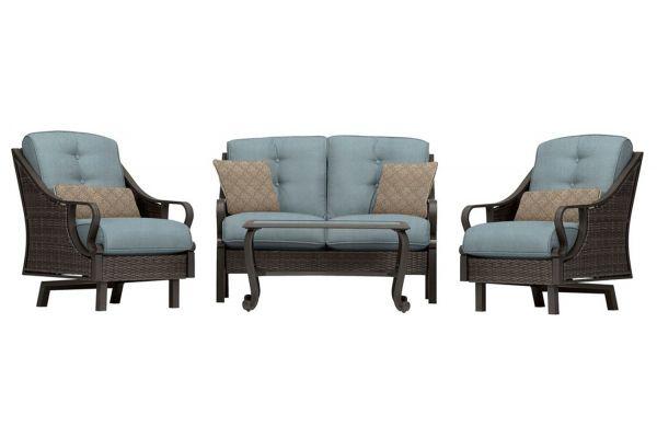 Hanover Ventura Ocean Blue 4-Piece Outdoor Seating Patio Set - VENTURA4PC-BLU