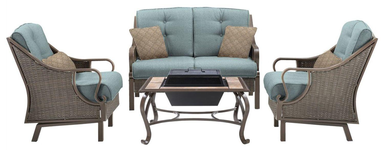 Hanover ventura 4pc fire pit set ventura4pcfp blu for Outdoor furniture big w