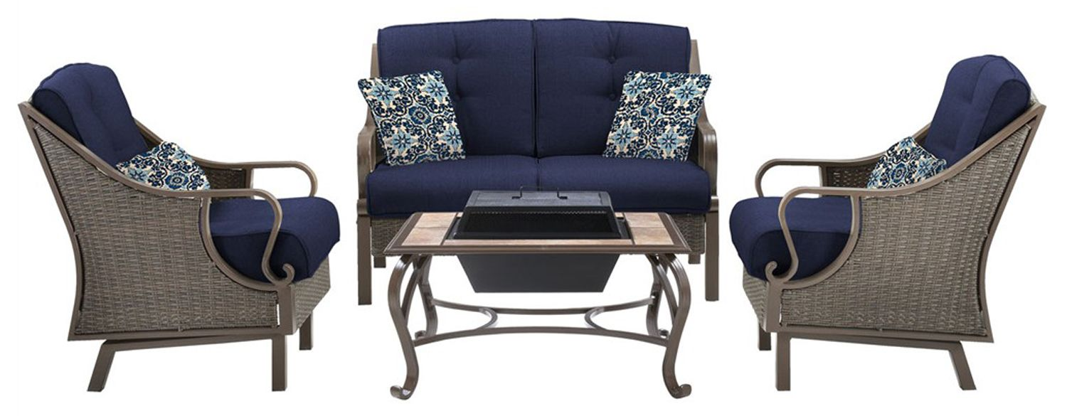 Hanover ventura 4 piece fire pit set ventura4pcfp nvy for Outdoor furniture big w