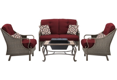 Hanover - VENTURA4PCFP-RED - Patio Seating Sets