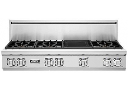 "Viking 48"" Professional 7 Series Stainless Steel Gas Rangetop - VGRT748-6GSS"