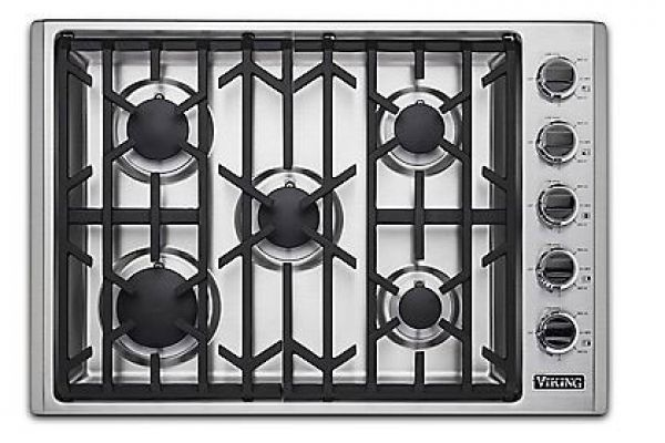 """Large image of Viking 30"""" Professional 5 Series Stainless Steel Natural Gas Cooktop - VGSU53015BSS"""