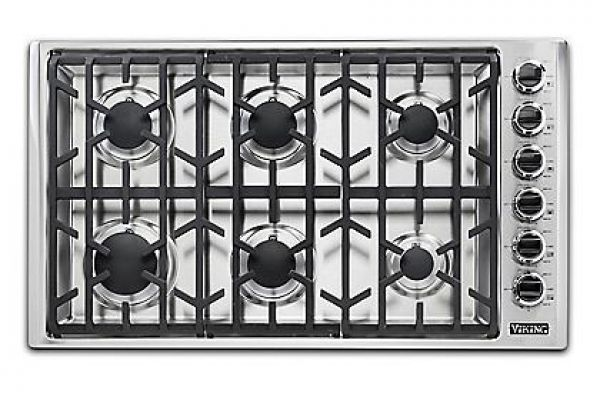 """Viking 36"""" Professional 5 Series Stainless Steel Natural Gas Cooktop - VGSU53616BSS"""