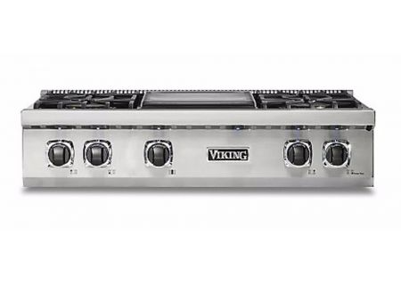 "Viking 36"" Professional 5 Series Stainless Steel With Wide Griddle Gas Rangetop - VRT5364GSS"
