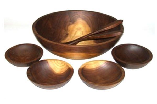 "Large image of Holland Bowl Mill American Walnut 15"" Wooden Salad Bowl Set - W115B7S"
